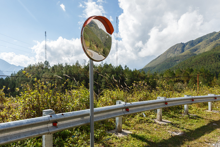 The traffic curve mirror, convex mirror road 版權商用圖片