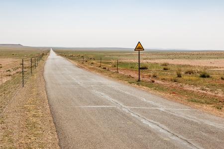asphalt road in steppe beautiful landscape, Inner Mongolia China