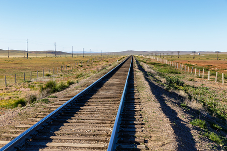 Trans-Mongolian railway, single-track railway in the Mongolian steppe, Mongolia