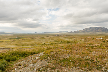 Mongolian Landscape of Orkhon Valley, Mongolian steppe with grassland, highway and railroad Stock fotó