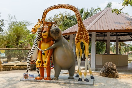 Bang Phra, Si Racha District, Thailand - March 22, 2016: Khao Kheow open zoo. The figures of animals from the cartoon Madagascar .