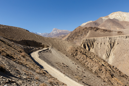 mountain road from the Kagbeni village to Muktinath, lower District, Nepal
