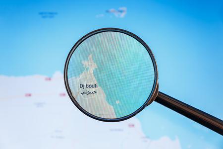 Djibouti, Djibouti. Carte politique. Concept illustratif de visualisation de la ville sur l'écran d'affichage à l'aide d'une loupe.