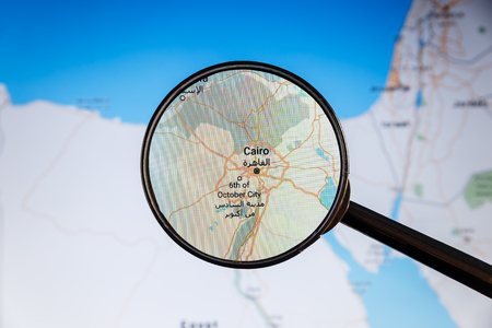Cairo, Egypt. Political map. City visualization illustrative concept on display screen through magnifying glass. Stock fotó