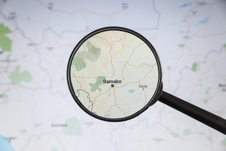 Bamako, Mali. Political map. City visualization illustrative concept on display screen through magnifying glass.