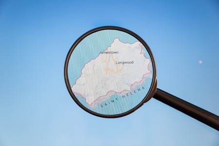 Jamestown, Saint Helena. Political map. City visualization illustrative concept on display screen through magnifying glass. Stockfoto