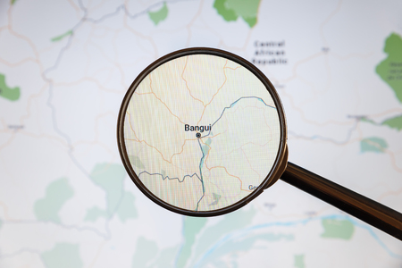 Bangui, Central African Republic. Political map. City visualization illustrative concept on display screen through magnifying glass.