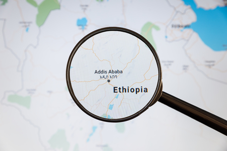 Addis Ababa, Ethiopia. Political map. City visualization illustrative concept on display screen through magnifying glass.