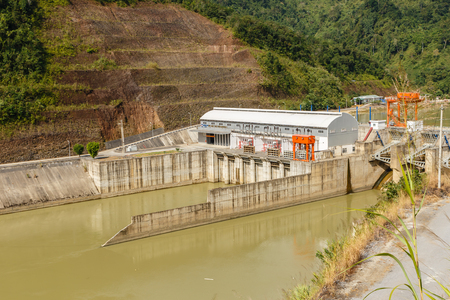 Phong Tho, Lai Chau, Vietnam - November 21, 2018: Hydropower Nam Na 3. Hydropower plant, located on the river of the same name, is just part of Vietnam impressive hydropower potential.