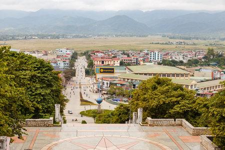 Dien Bien Phu, Vietnam - November 24, 2018: Dien Bien Phu city view from D1 Hill. famous Historic site of the battle of Dien Bien Phu.