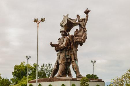 Dien Bien Phu, Vietnam - November 24, 2018: The battle of Dien Bien Phu victory statue at D1 Hill. famous Historical site of the battle of Dien Bien Phu.