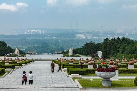 Pyongyang,North Korea-July 27, 2014: Korean memorial cemetery of revolutionaries in Pyongyang. View of Pyongyang City Editorial