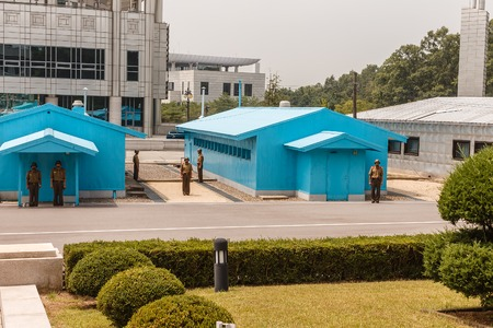 Panmunjom, North Korea - July 30, 2014: Border between North and South Korea. View from North Korea. The Joint Security Area from the North Korean side.