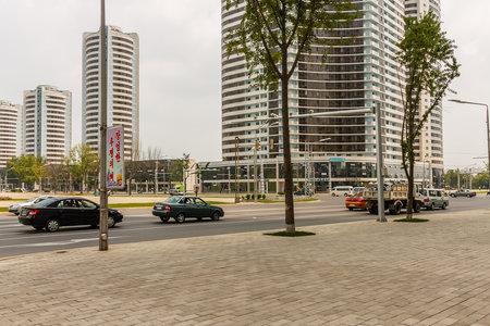 Pyongyang, North Korea - July 29, 2014: Mansudae Street in Pyongyang. Crossroads Mansudae street and Sungri street.