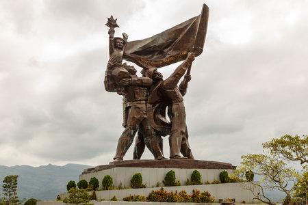 Dien Bien Phu, Vietnam - November 24, 2018: The battle of Dien Bien Phu victory statue at D1 Hill. A famous Historical site of the battle of Dien Bien Phu.