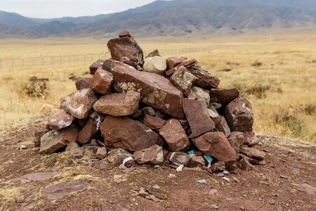 slide of red stones, archeological town Sawran, Kazakhstan, ancient city
