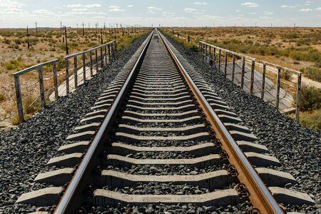single track railway in the steppe of Kazakhstan