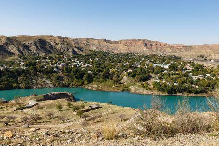 Naryn River near the city of Tash-Kumyr in the Jalal-Abad region of Kyrgyzstan
