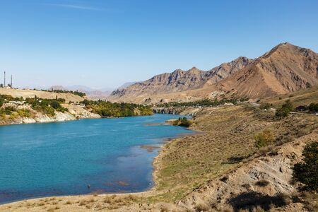 Naryn River near the city of Tash-Kumyr in the Jalal-Abad region of Kyrgyzstan. Фото со стока