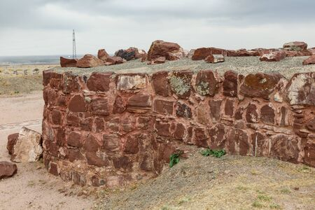 ruined ancient wall in Akyrtas Palace Complex. Kazakhstan