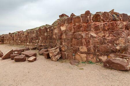 Akyrtas Palace Complex. Kazakhstan. red sandstone wall. Stock fotó