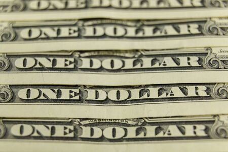 one american dollar, background from paper money.