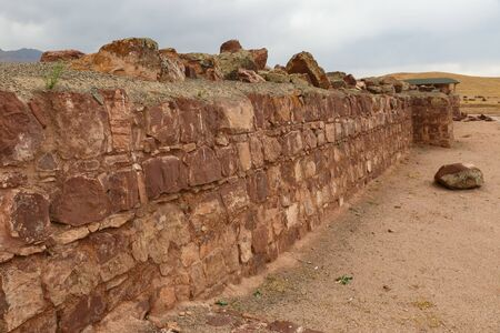 ruined ancient wall in Akyrtas Palace Complex. Kazakhstan.