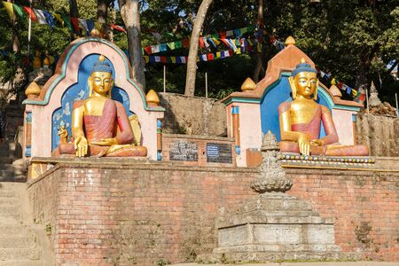 Golden Buddha Statues, Swayambhunath stupa, Kathmandu Nepal
