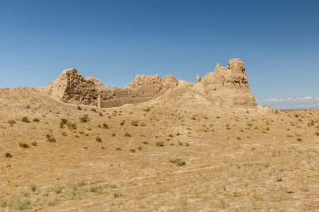 Ruins of an ancient city Sawran or Sauran in Southern Kazakhstan. Part of the fortress wall.