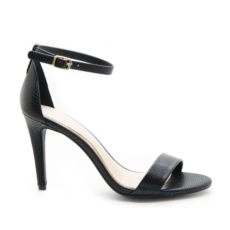 Black beautiful shape of high ankle strap heels  isolate on white background.