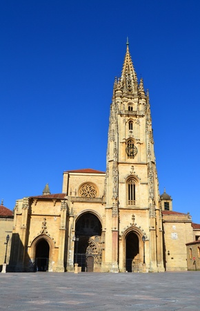 Cathedral of Oviedo in a square, Asturias - Spain