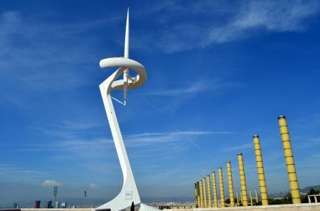 モンジュイック バルセロナ バルセロナ, スペイン - 2011 年 9 月 7 日: カラトラバ通信塔