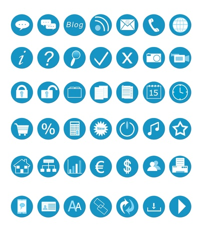 Set of icons for the Web in blue colors Imagens