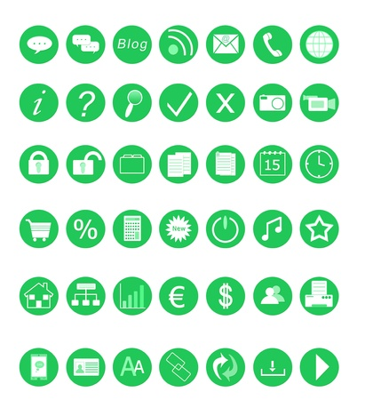 Set of icons for the Web in green colors Stock Photo - 12332167