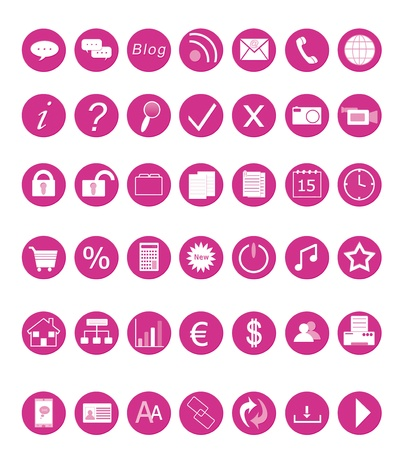 Set of icons for the Web in pink colors
