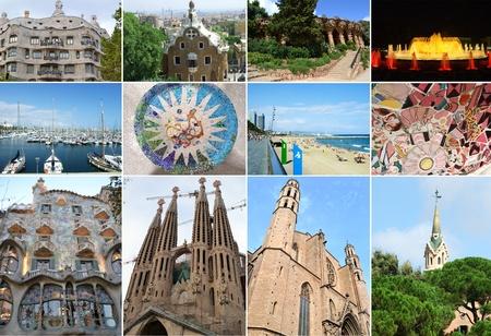 barcelone: Collage de la ville de Barcelone en Espagne