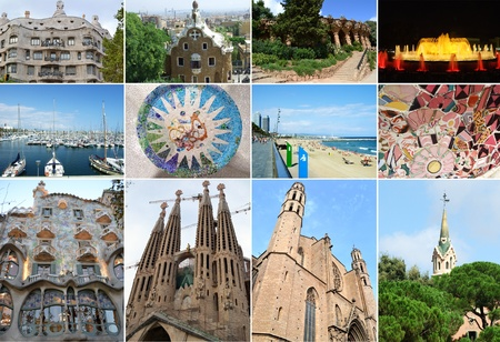 seaports: Collage of city of Barcelona in Spain