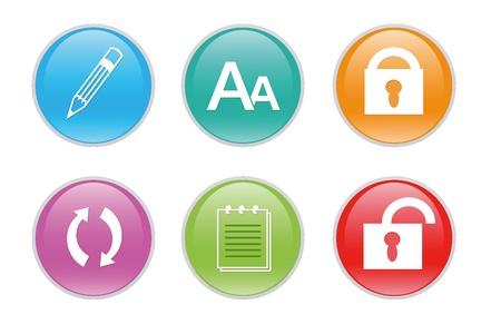Iconos de colores para la web con símbolos diferentes