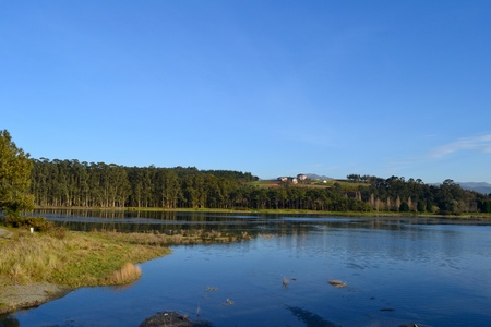 Wetland of great environmental value called La Poza in the beach of Navia, Asturias - Spain photo