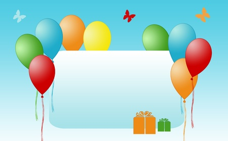Colorful card with balloons for invitation photo