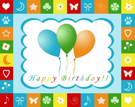 Colorful card with balloons for happy birthday Stock Photo - 13470400