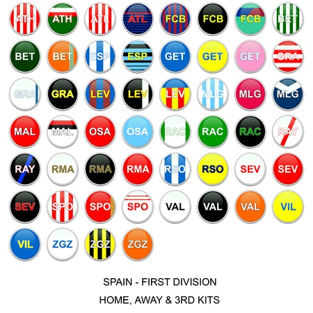 Set of buttons with home, away and third kits for spanish first division football league teams