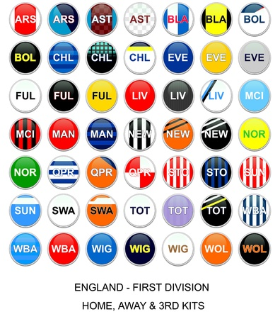 Set of buttons with home, away and third kits for english first division football league teams Editorial