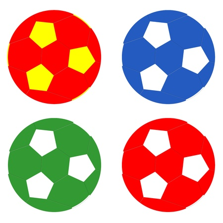 Balloons of football in diferents colors photo