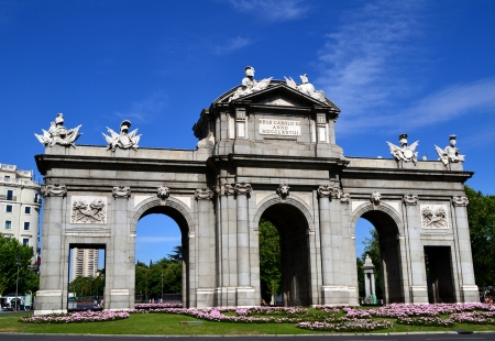 Puerta de Alcala is a famous landmark in Madrid, Spain