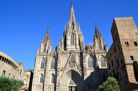 View of Cathedral of Barcelona, Spain Standard-Bild