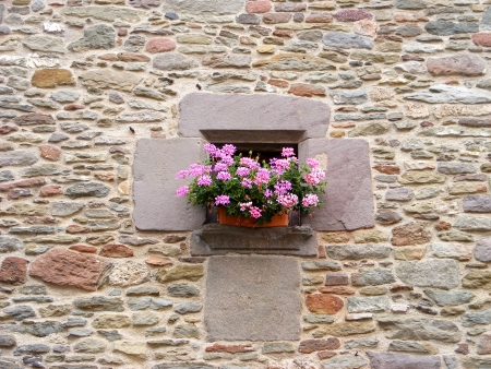 Ancient window in Rupit, Barcelona, Spain photo