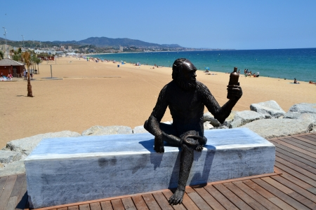 ruiz: Badalona, Barcelona, Spain - July 9 th, 2012: Sculpture of the monkey of Anis del Mono factory Editorial