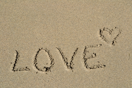 The word Love written in the sand photo