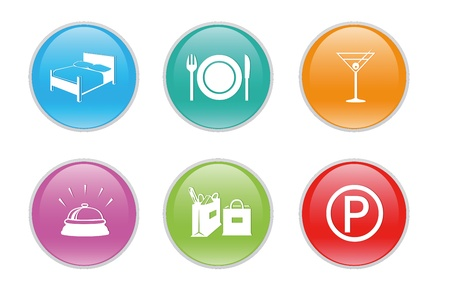 Colorful icons for the web with differents symbols for hospitality and tourism photo